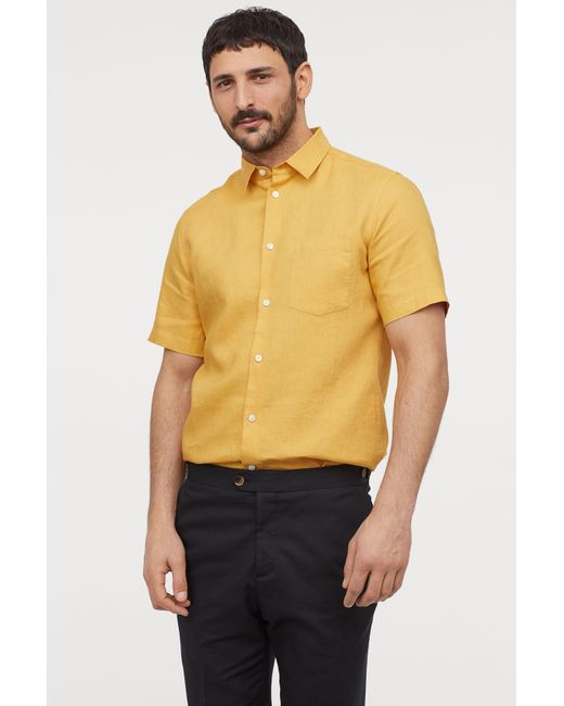 5faa3d97513 Lyst - H M Slim Fit Linen Shirt in Yellow for Men