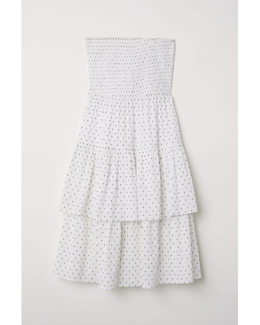 16d1ea61f3 H&M Strapless Flounced Dress in White - Lyst