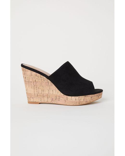 Lyst Hm Wedge Heel Mules In Black