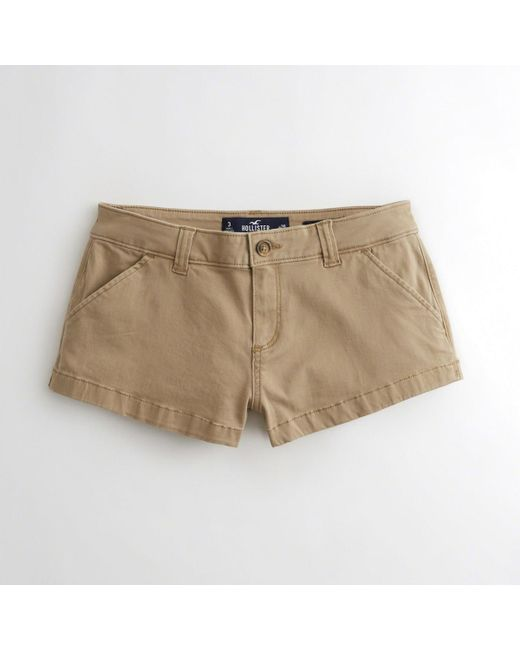 Hollister - Natural Low-rise Twill Chino Shorts - Lyst