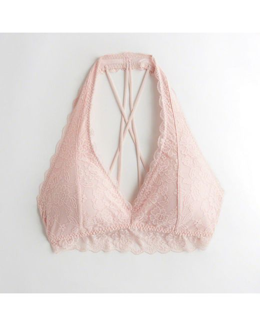 42d1f17aa96 Hollister - Pink Girls Strappy Halter Bralette With Removable Pads From  Hollister - Lyst