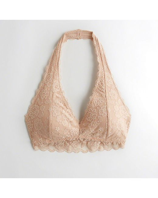 8e10fb89dab Hollister - Natural Girls Lace Halter Bralette With Removable Pads From  Hollister - Lyst
