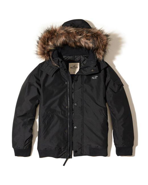 Hollister Fur Hood Bomber Jacket in Black for Men