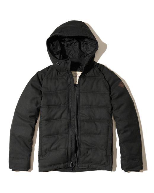 hollister textured puffer jacket in black for men lyst