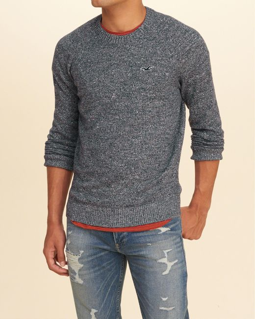 Hollister Crew Icon Sweater In Blue For Men