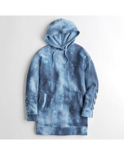 Hollister - Blue Girls Lace-up Sweatshirt Dress From Hollister - Lyst