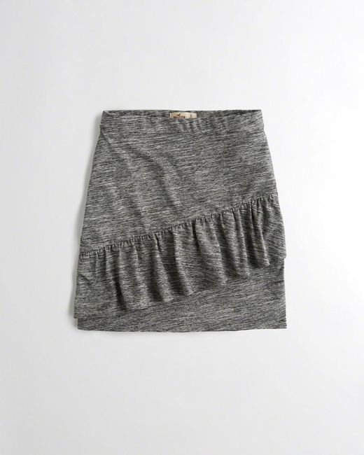 Hollister - Gray Girls Ruffle Knit Bodycon Skirt From Hollister - Lyst