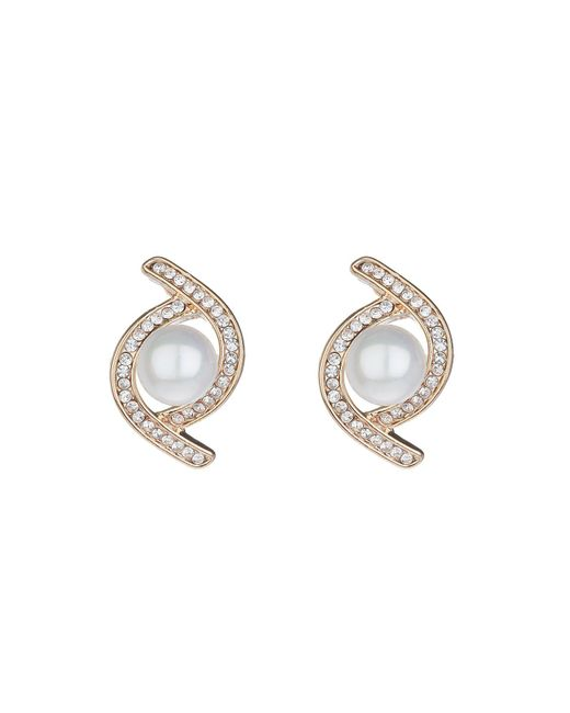 Mikey - Metallic Twist Crystal Pearl Centre Stud Earring - Lyst