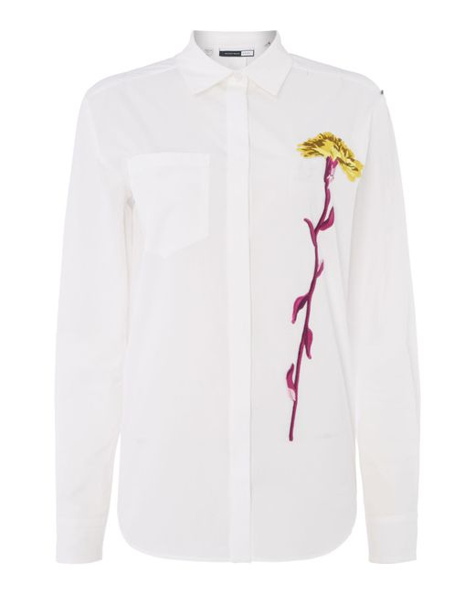 Sportmax Code | White Rete Long Sleeve Shirt With Embroidered Flower | Lyst