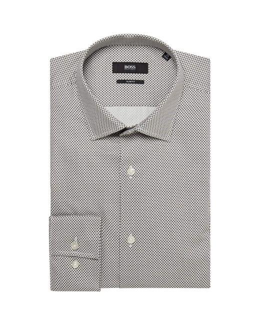 BOSS White Jenno Slim Fit Micro Bow Tie Print Shirt for men
