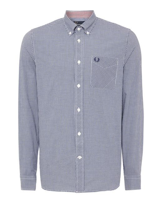 Fred Perry | Blue Gingham Classic Fit Long Sleeve Shirt for Men | Lyst