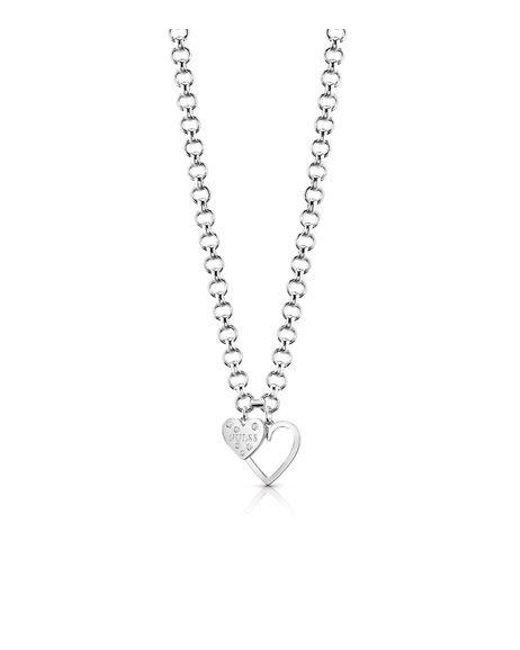 Guess | Metallic Heart In Heart Necklace | Lyst