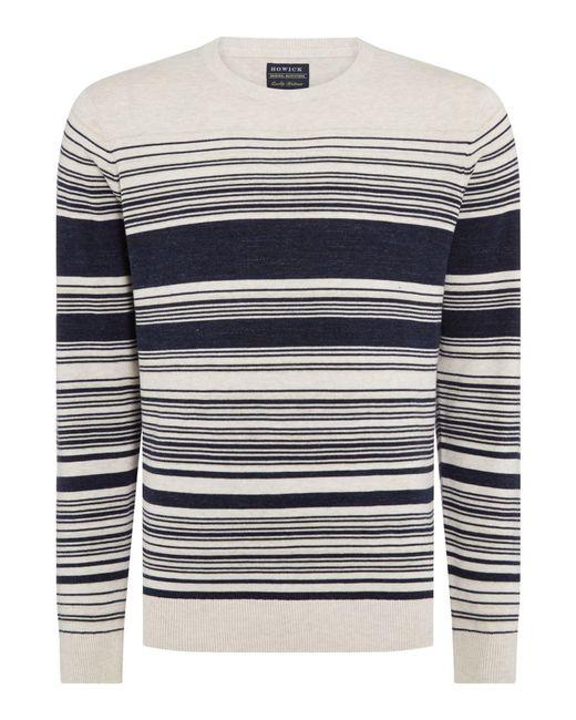 Howick - Blue Men's Holbeach Textured Stripe Jumper for Men - Lyst