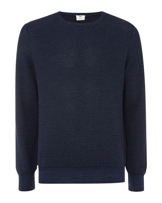 Richard James - Blue Diamond Texture Crew Knitwear for Men - Lyst