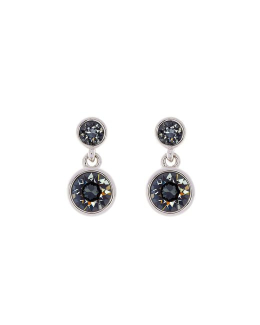 Karen Millen - Blue Silver & Grey Crystal Dot Drop Earring - Lyst