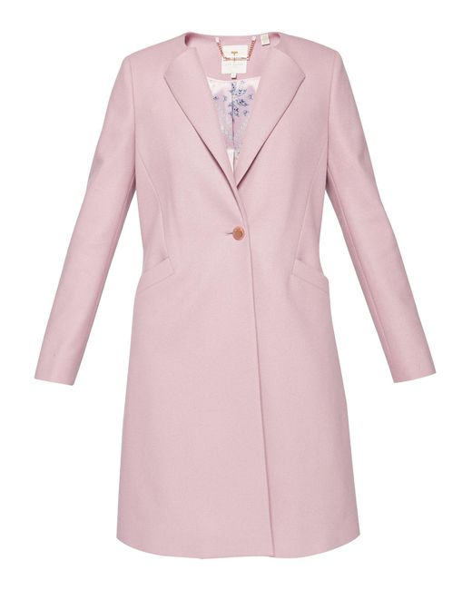 Ted Baker - Pink Emiilio Collarless Wool Coat - Lyst