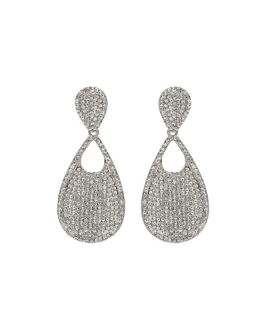 Mikey - White Twin Oval Crysral Disc Dangling Earring - Lyst