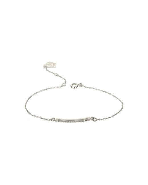 Mikey | White Id Cubic Tab Chain Linked Bracelet | Lyst