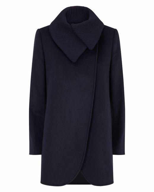 Jaeger   Blue Knit Collar Cocoon Coat   Lyst