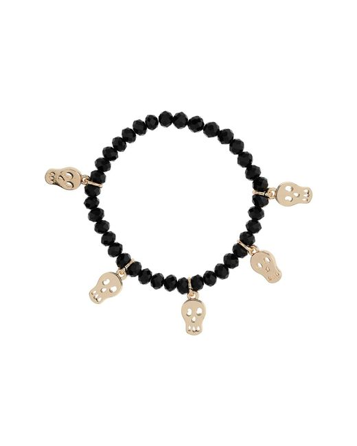 Mikey | Black Bead Bracelet With Skull Charms | Lyst