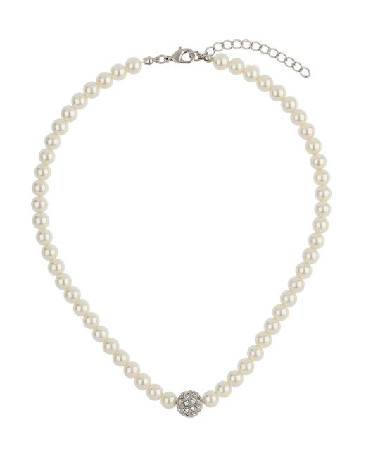 Mikey | White Crystal Ball Pearl Necklace | Lyst