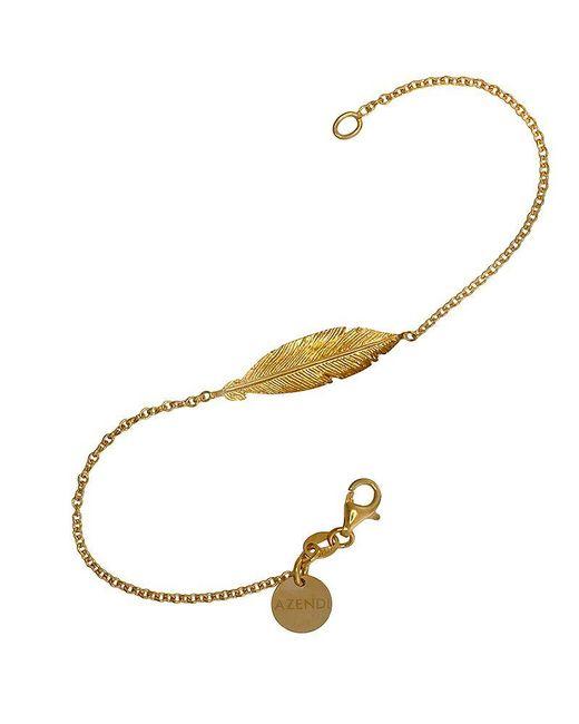 Azendi | Metallic Gold Vermeil Feather Bracelet | Lyst
