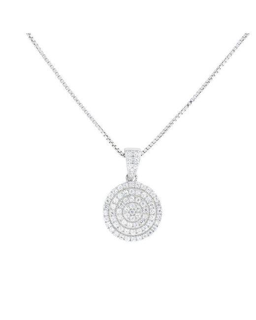 Azendi | Metallic Silver Pavé Circle Pendant | Lyst