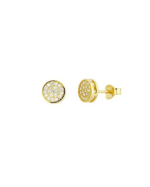 Azendi | Metallic 18ct Gold Vermeil Pavé Stud Earrings | Lyst
