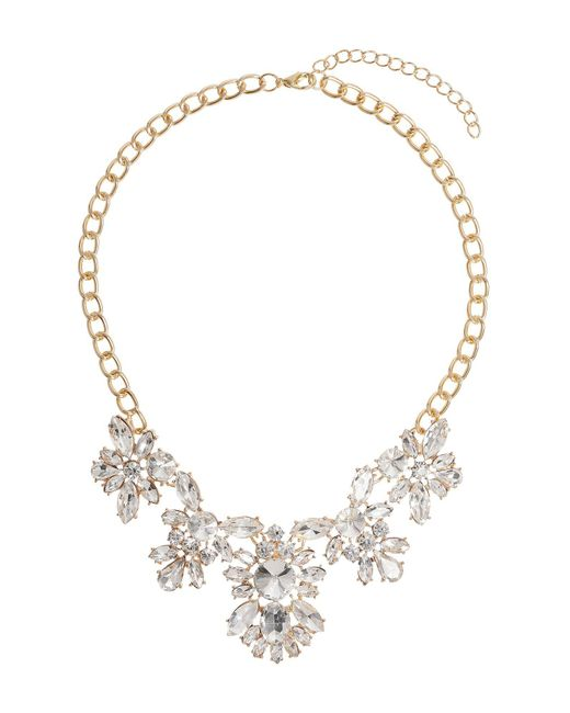 Mikey - Metallic Multi Crystal Flower Linked Necklace - Lyst