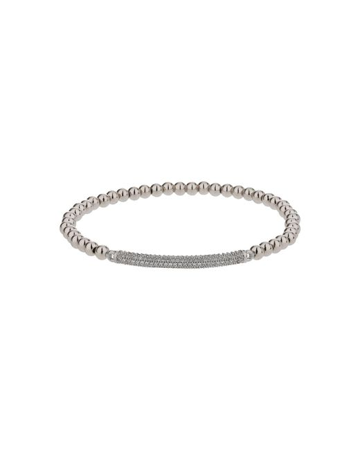Mikey - White Elastic Crystal Id Bracelet - Lyst