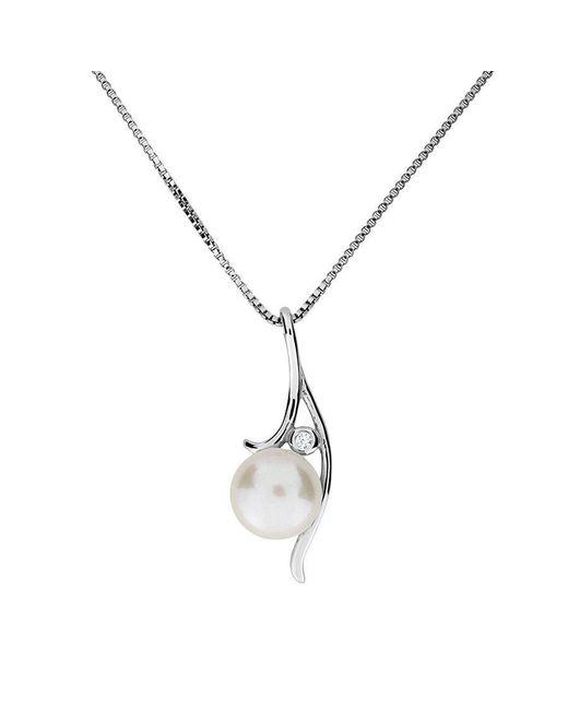 Azendi | Metallic Silver & Pearl Ribbon Pendant | Lyst