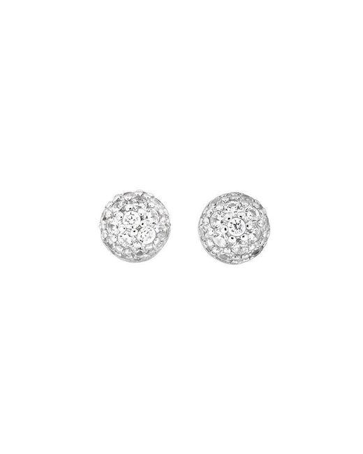 Azendi | Metallic Small Silver Pavé Dome Studs | Lyst