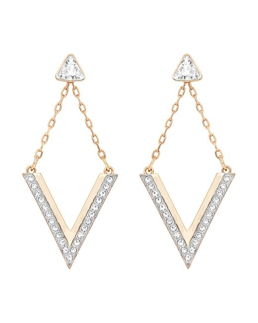 Swarovski | Pink Delta Pierced Earrings | Lyst