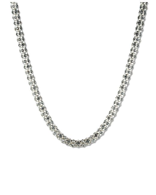 Anne Klein | Metallic Silvertone Crystallized Tubular Collar Necklace | Lyst