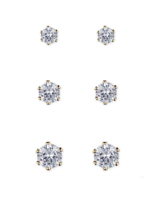 Anne Klein | Metallic Crystal Stud Earring Set | Lyst