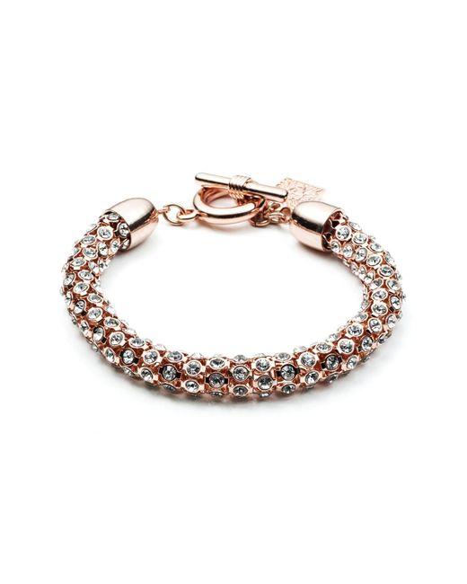 Anne Klein | Pink Tubular Pave Toggle Bracelet | Lyst