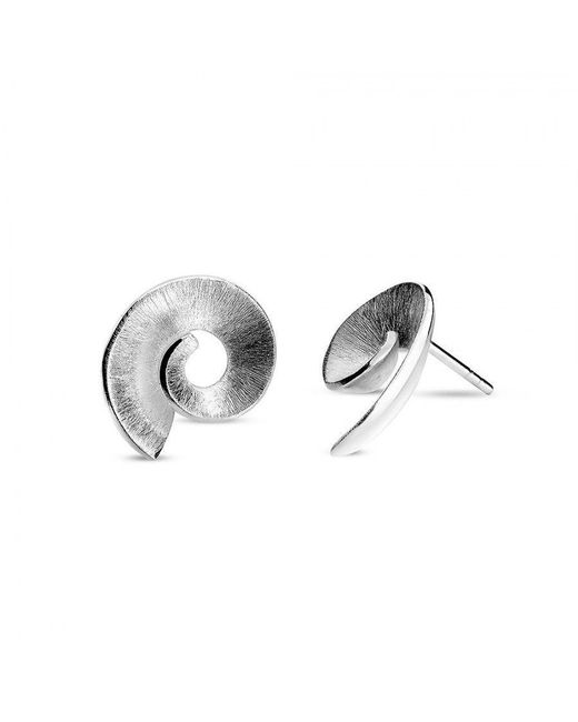 Azendi | Metallic Silver Frosted Spiral Stud Earrings | Lyst