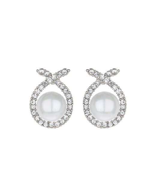 Mikey | White Scarf Crystal Pearl Centre Stud Earring | Lyst