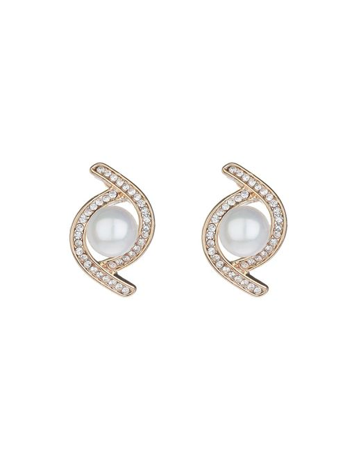 Mikey | Metallic Twist Crystal Pearl Centre Stud Earring | Lyst