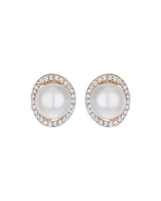 Mikey | White Hoop Crystal Pearl Stud Earring | Lyst