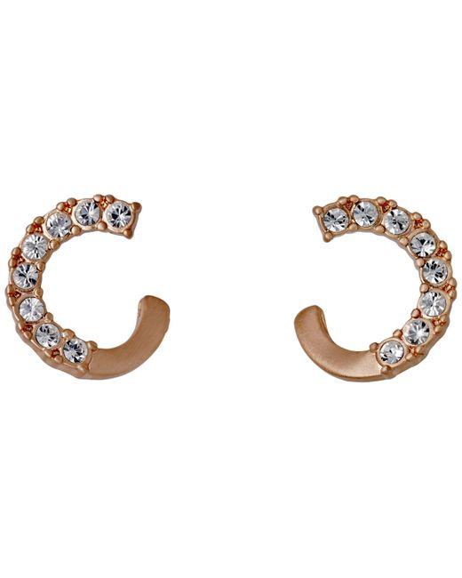 Pilgrim - Metallic Shany Rose Gold Plated Crystal Earrings - Lyst