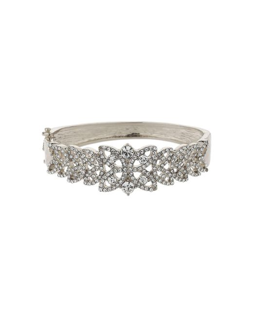 Mikey | Metallic Filigree Leaf Design Crystal Bracelet | Lyst