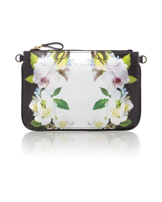Ted Baker Lizel Black Floral Cross Body Bag In Floral (Black)   Lyst