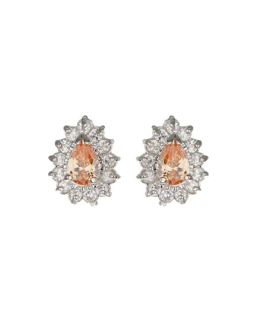 Mikey | Metallic Oval Cubic Marqise Stud Earring | Lyst