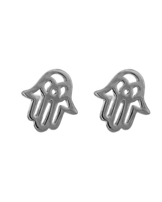 Azendi | Metallic Sterling Silver Hamsa Studs | Lyst