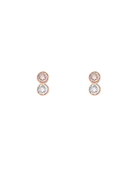 Karen Millen   Metallic Rose Gold & Crystal Dot Stud Earring   Lyst
