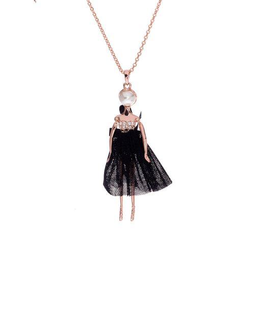 Ted Baker | Black Bijou Pave Ballerina Pendant | Lyst