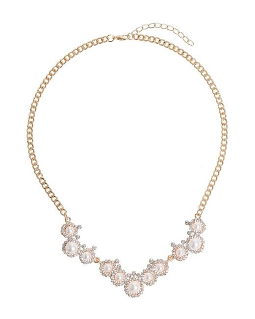 Mikey - Metallic Pearl Crystal Round Disc Linked Necklace - Lyst