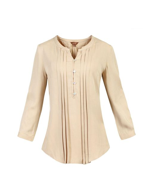 Jolie Moi | Brown Button Front Pleated Blouse | Lyst