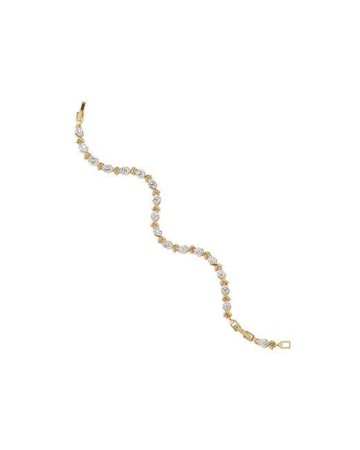 Mikey | Metallic Cross Over Cubic Stones Tennis Bracelet | Lyst